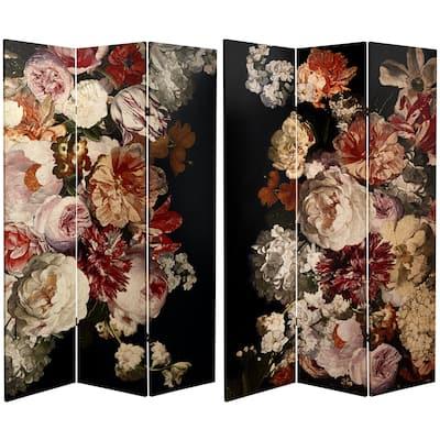 Handmade 6' Canvas Vintage Flowers Room Divider