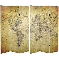 Handmade 6' Canvas Vintage World Map Room Divider