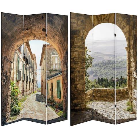 Handmade 6' Canvas European Village Room Divider