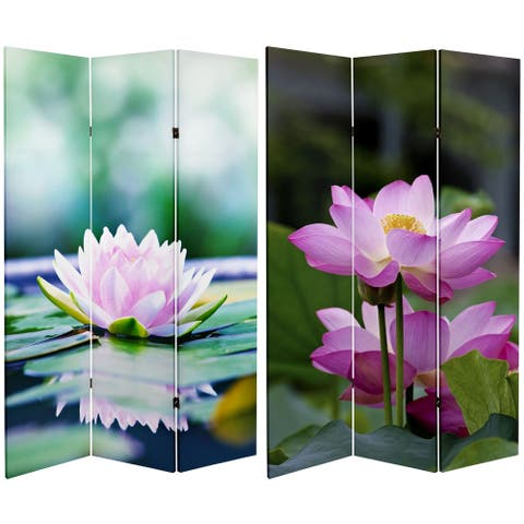 Handmade 6' Double Sided Lotus Blossom Canvas Room Divider