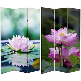 Handmade 6' Canvas Lotus Blossom Room Divider