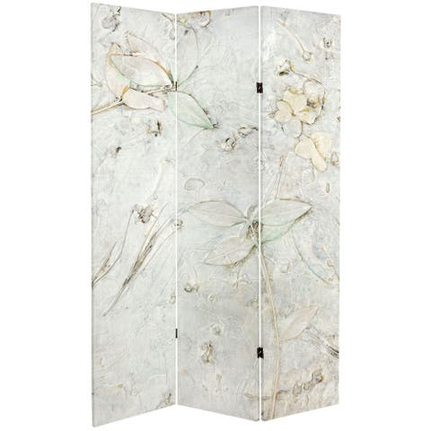 Handmade 6' Double Sided Ivory Flowers Canvas Room Divider