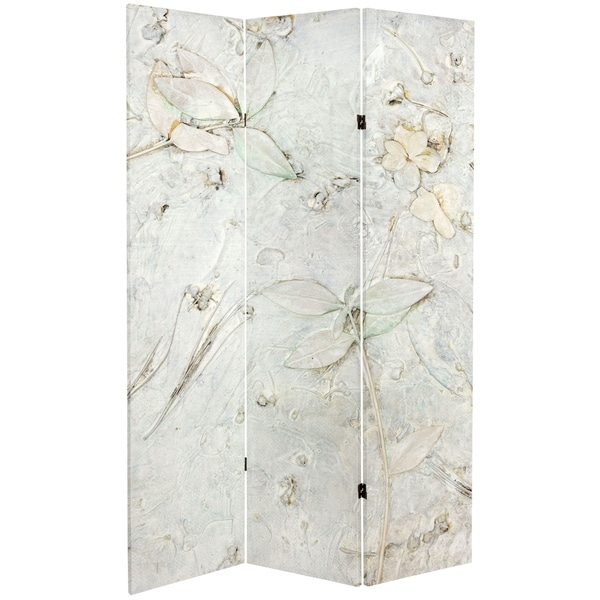 Handmade 6' Double Sided Ivory Flowers Canvas Room Divider. Opens flyout.
