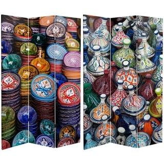 Handmade 6' Canvas Ceramic Bazaar Room Divider