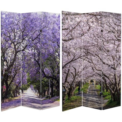 Handmade 6' Double Sided Lavender Road Canvas Room Divider