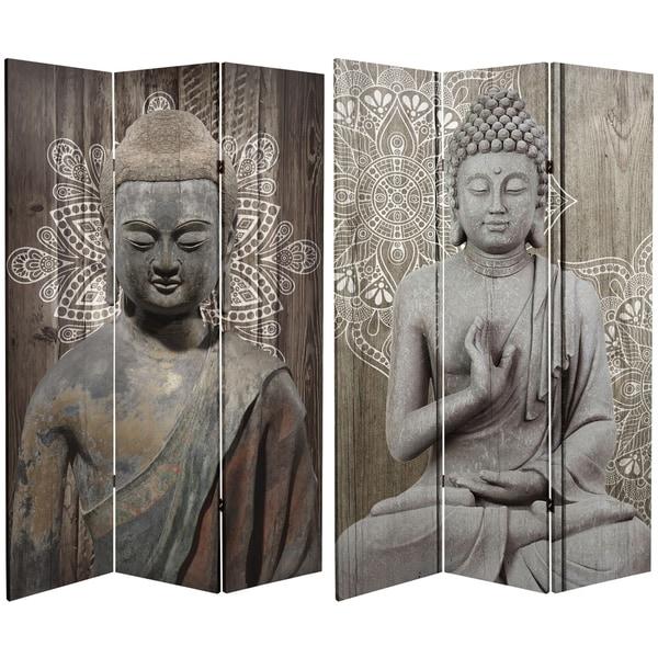 Handmade 6' Canvas Stone Buddha Room Divider