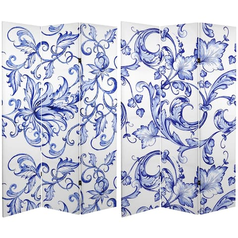 Handmade 6' Canvas Blue Filigree Room Divider