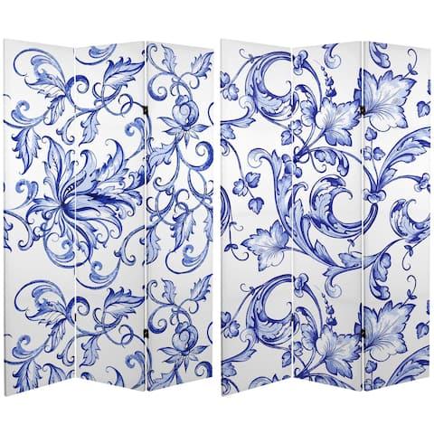 Handmade 6' Canvas Blue Filigree Room Divider