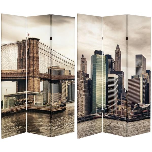 Handmade 6' Canvas New York River Room Divider