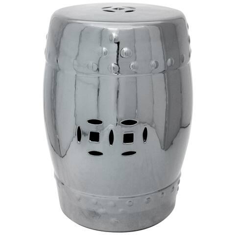 "Handmade 18"" Pure Silver Porcelain Garden Stool"