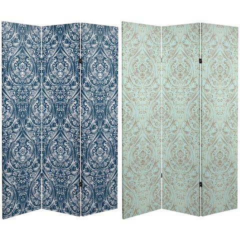 Handmade 6' Double Sided Ocean Damask Canvas Room Divider