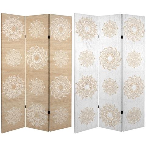 Handmade 6' Double Sided Mandala on Birch Canvas Room Divider