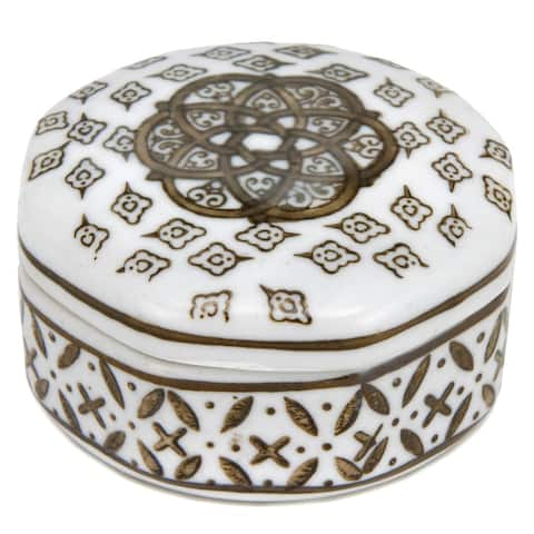 """Handmade 3"""" Brown and White Medallions Porcelain Small Jewelry Box"""