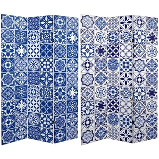Handmade 6' Canvas Blue and White Tile Room Divider