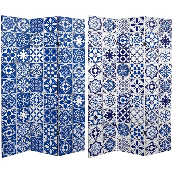 Handmade 6' Canvas Blue and White Tile Room Divider
