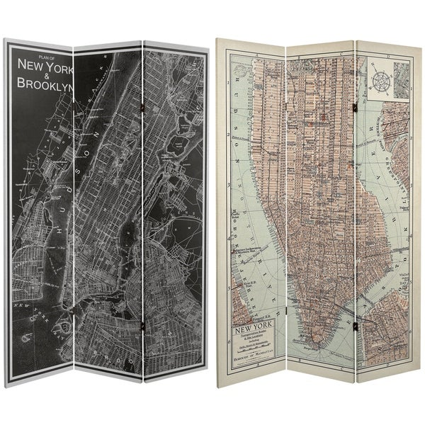Handmade 6' Canvas Map of New York Room Divider