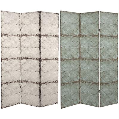 Handmade 6' Canvas Antiqued Paneling Room Divider