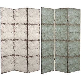 6 ft. Tall Double Sided Antiqued Paneling Canvas Room Divider