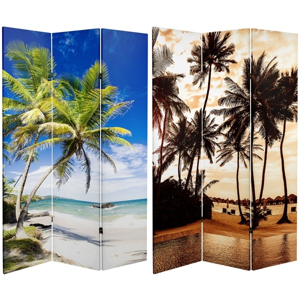 Handmade 6' Canvas Sunset Palms Room Divider