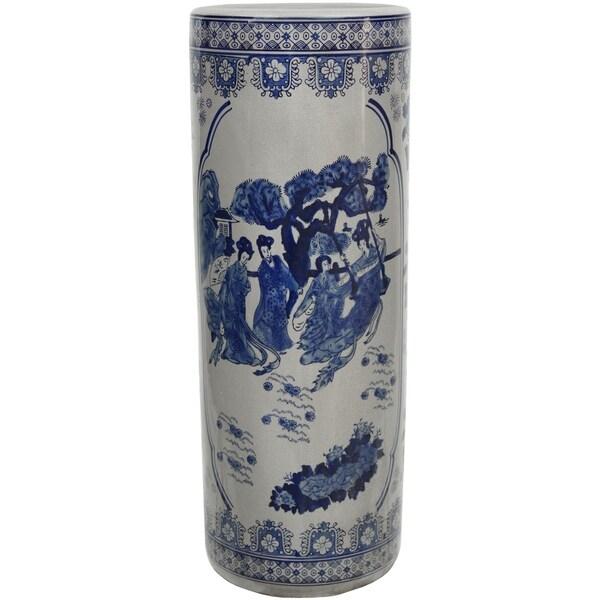 "Handmade 24"" Ladies Blue and White Porcelain Umbrella Stand"