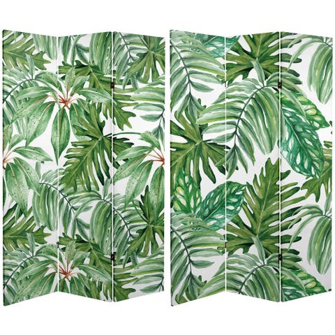 Handmade 6' Double Sided Palm Leaves Canvas Room Divider