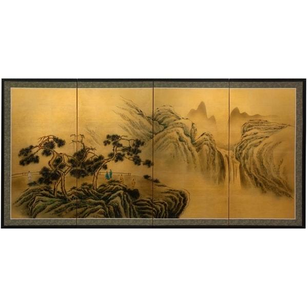 Handmade Mountaintop Waterfall on Gold Leaf Wall Art