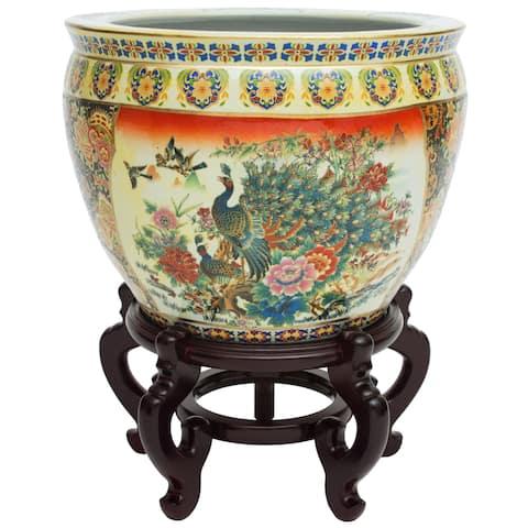 """Handmade 12"""" Famille Rose Porcelain Fishbowl"""