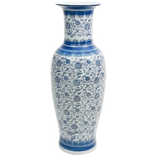 "Handmade 36"" Floral Blue and White Porcelain Tung Chi Vase"