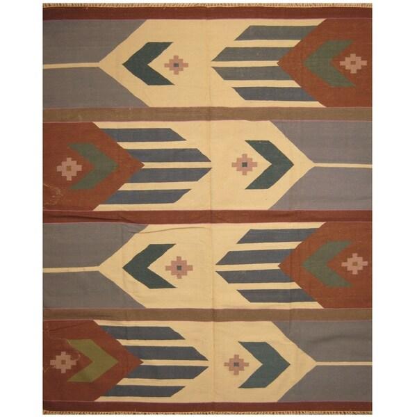 Handmade One-of-a-Kind Wool Kilim (India) - 8' x 10'