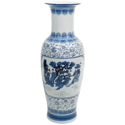 "Handmade 36"" Ladies Blue and White Porcelain Tung Chi Vase"