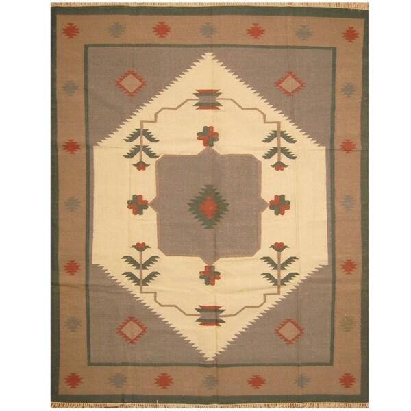 Handmade One-of-a-Kind Wool Kilim (India) - 8' x 9'10