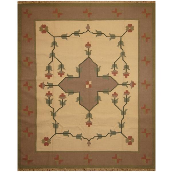 Handmade One-of-a-Kind Wool Kilim (India) - 8'5 x 10'2