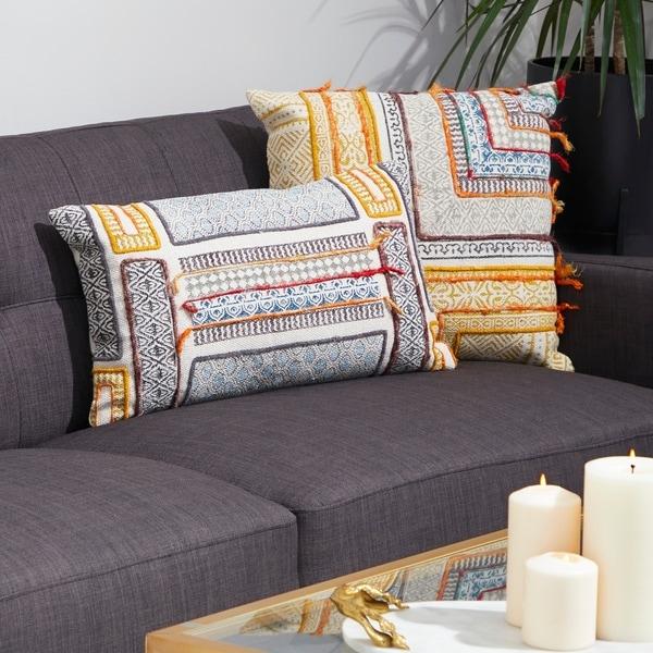 "Decorative Throw Pillow w/ Vintage Boho Patterns 20"""
