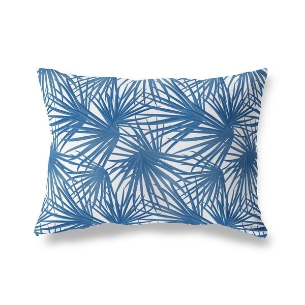 PALM BALM BLUE ON WHITE Lumbar Pillow By Kavka Designs