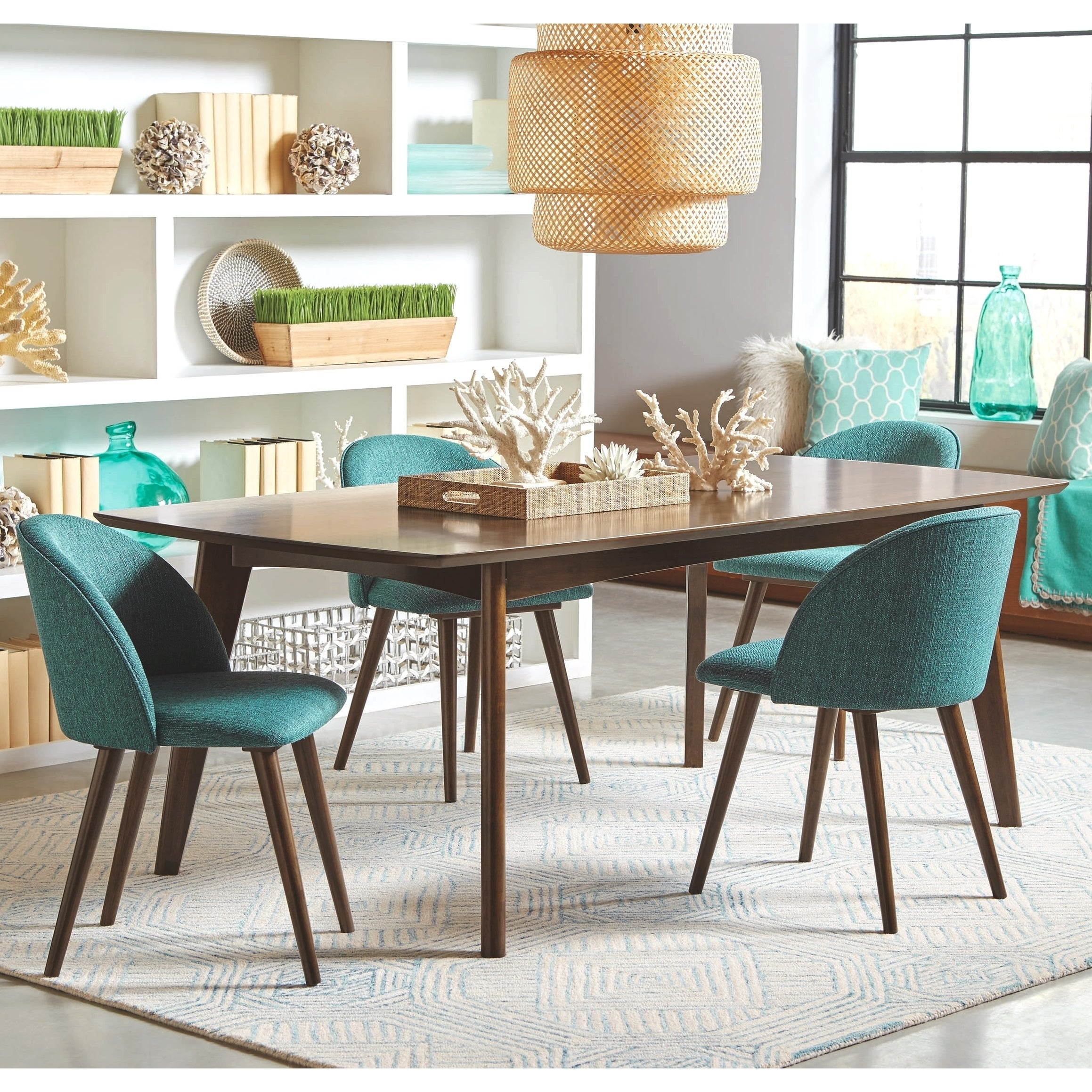 Mid Century Danish Design Dining Set With Aqua Upholstered Chairs