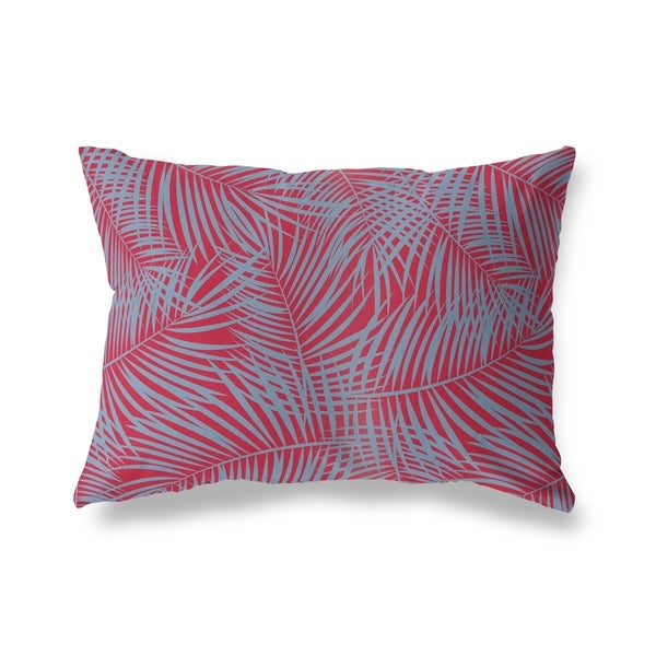 Porch & Den Randall Red and Blue Palm Leaf Pattern Lumbar Pillow