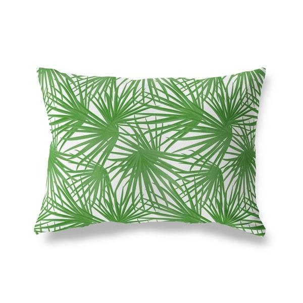 PALM BALM GREEN ON WHITE Lumbar Pillow By Kavka Designs