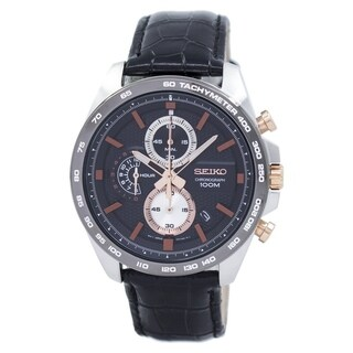 Link to Seiko Men's SSB265 Chronograph Black Leather Watch Similar Items in Men's Watches
