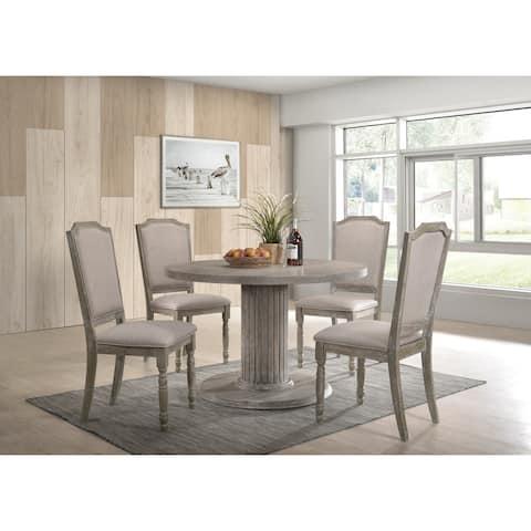 Ferran Reclaimed Gray Wood Pedestal Dining Table Set
