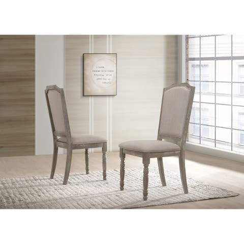 Ferran Wood Upholstered Dining Chair in Reclaimed Gray, Set of 2