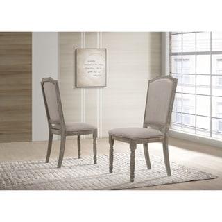 Ferran Wood Pedestal Dining Chair in Reclaimed Gray, Set of 2