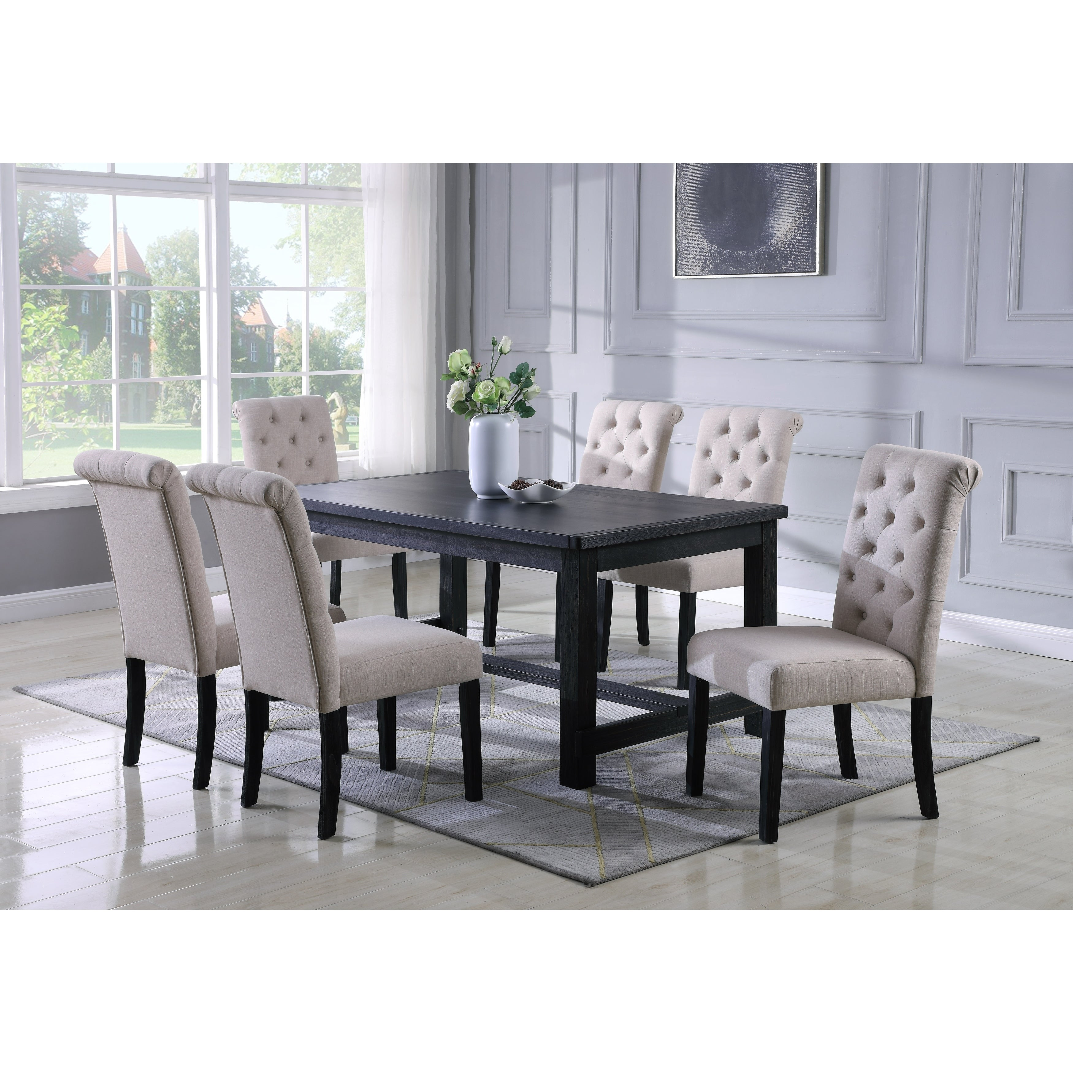 Swell Leviton Antique Black Finished Wood Dining Set Table With Six Chair Gray Ibusinesslaw Wood Chair Design Ideas Ibusinesslaworg