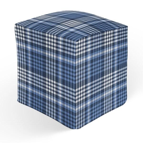 BOYS BLUE PLAID Square Pouf By Kavka Designs
