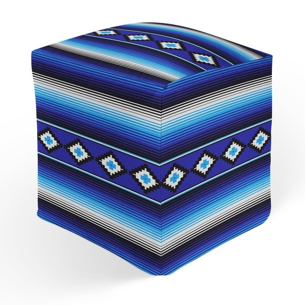 MODERN SERAPE BLUE Square Pouf By Kavka Designs