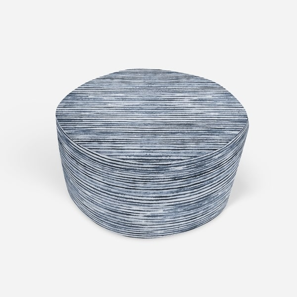 WABI SABI STRIPE BLUE Round Pouf By Kavka Designs