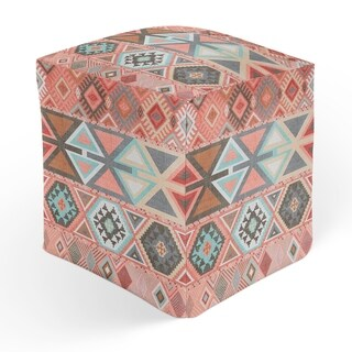 AZTEC TRIBAL PINK Square Pouf By Kavka Designs