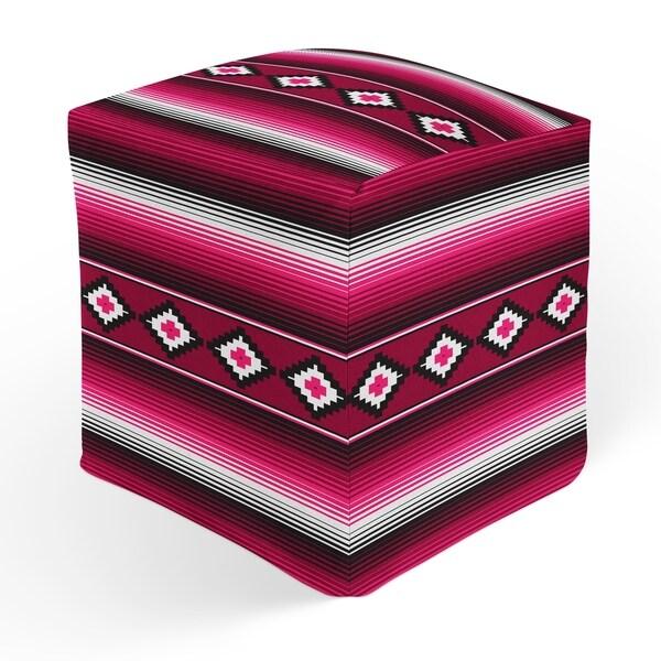 MODERN SERAPE MAGENTA Square Pouf By Kavka Designs