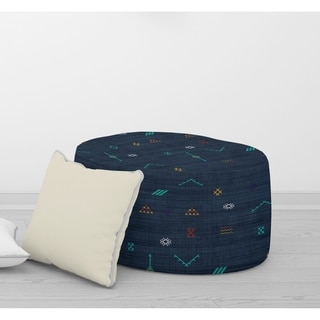 CACTUS SILK NAVY Round Pouf By Kavka Designs