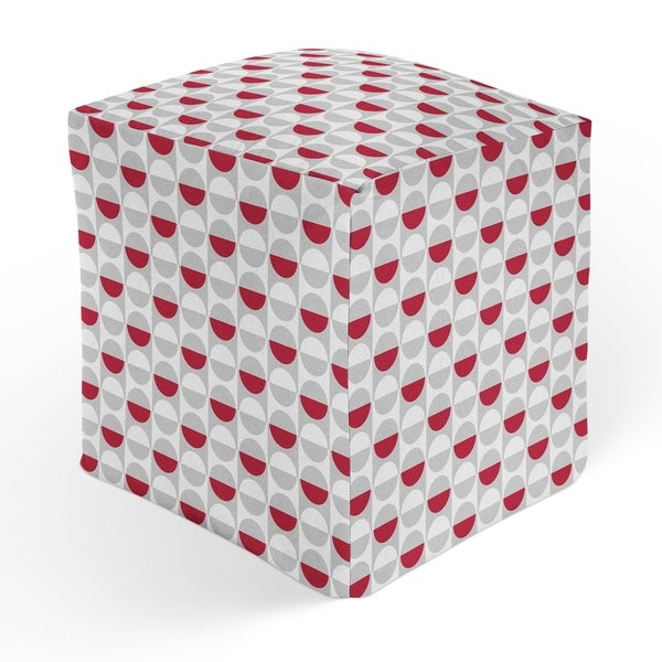 MOD SQUAD RED GREY Square Pouf By Kavka Designs