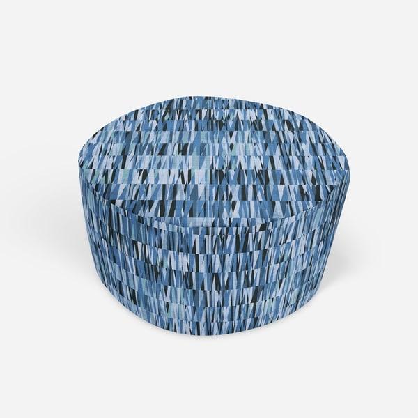 WEXLER GEO BLUE Round Pouf By Kavka Designs